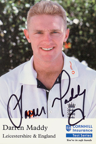 Darren Maddy, Leicestershire & England, signed 6x4 inch promo card.