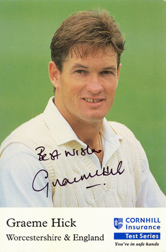 Graeme Hick, Worcestershire & England, signed 6x4 inch promo card.