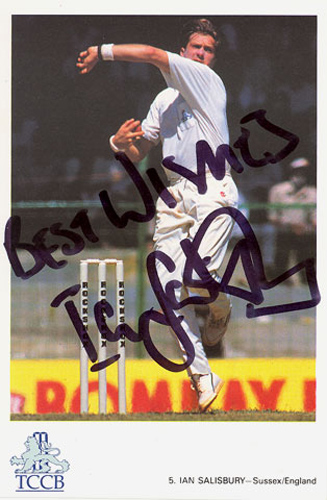 Ian Salisbury, Sussex & England, signed 6x4 inch promo card.