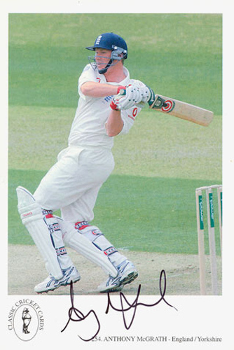 Anthony McGrath, Yorkshire & England, signed 6x4 inch promo card.