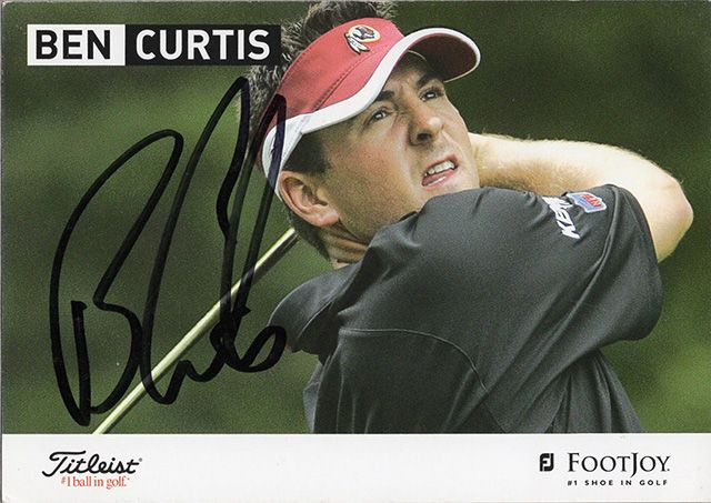 Ben Curtis, signed 6x4 inch promo card.