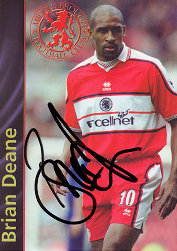 Brian Deane, Middlesbrough, signed 5.25x3.75 inch promo card.