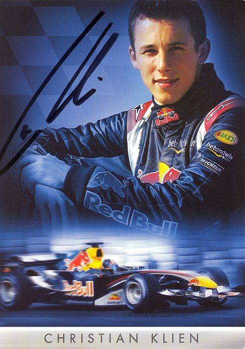 Christian Klien, Red Bull Racing, signed 6x4 inch promo card.