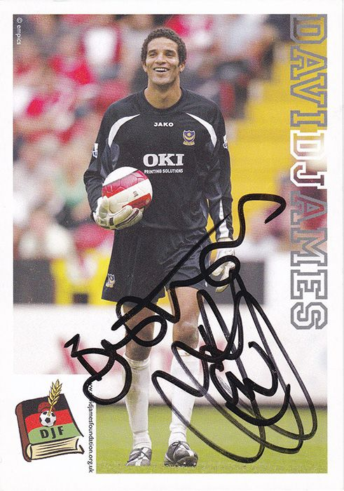 David James, Portsmouth & England, signed 6x4 inch promo card.
