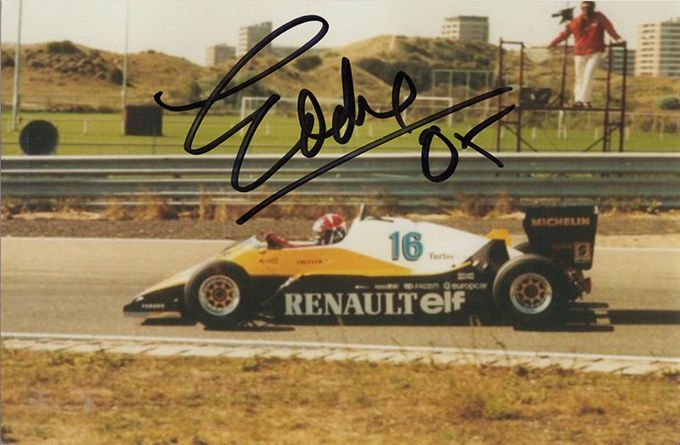 Eddie Cheever, Renault F1, signed 6x4 inch photo.