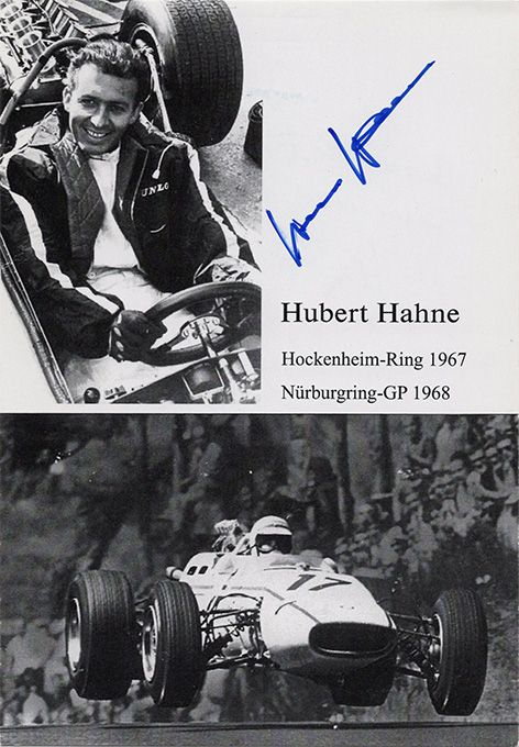 Hubert Hahne, Formula One, signed 6x4 inch promo card.