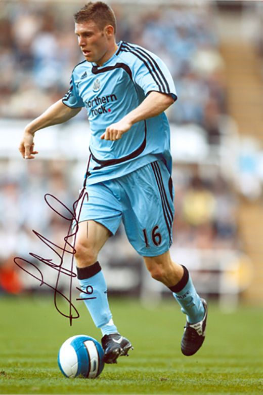James Milner, Newcastle Utd, England, signed 12x8 inch photo.