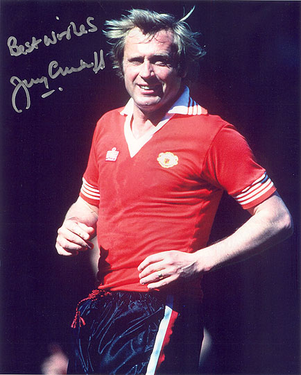 Jimmy Greenhoff, Manchester Utd, signed 10x8 inch photo.