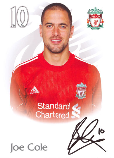 Joe Cole, Liverpool, signed 8.25x5.75 inch photo.(pre-print)