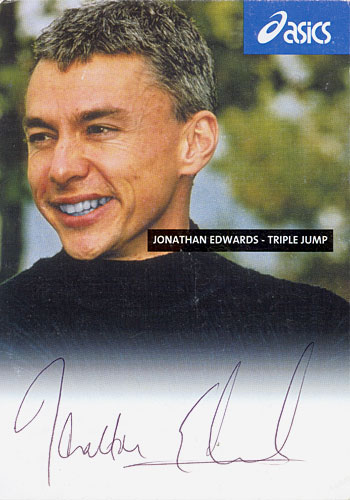 Jonathan Edwards, signed 6x4 inch promo card.