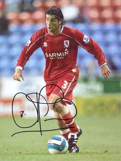 Julio Arca, Middlesbrough, signed 10x8 inch photo.