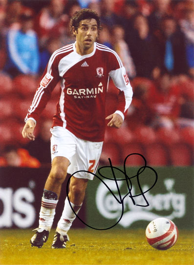 Julio Arca, Middlesbrough, signed 10x8 inch photo.(2)