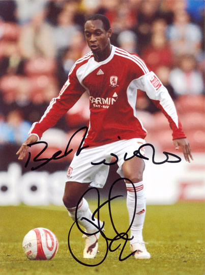 Justin Hoyte, Middlesbrough, signed 10x8 inch photo.