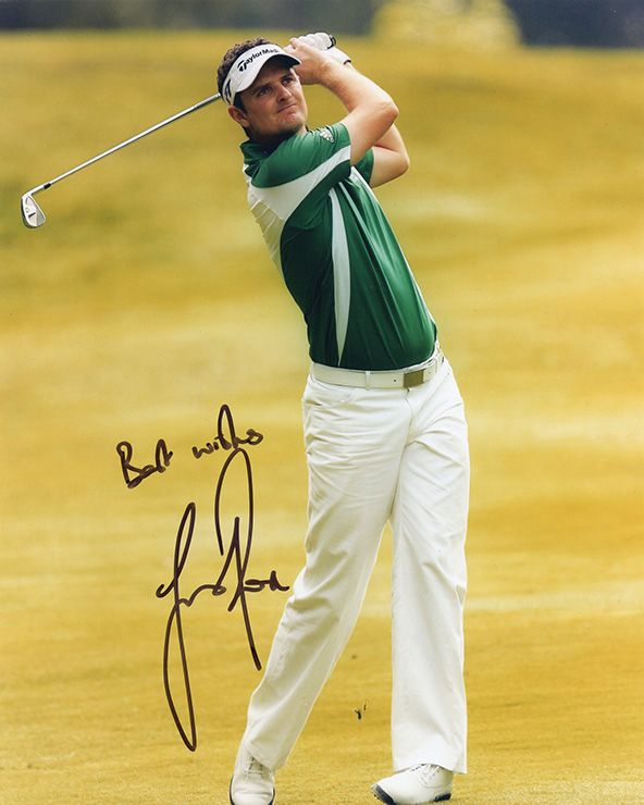 Justin Rose, signed 10x8 inch photo.