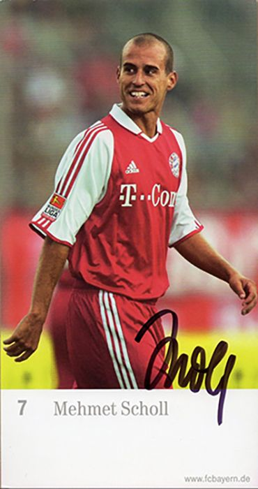 Mehmet Scholl, Bayern Munich & Germany, signed 6.5x3.5 inch promo card.