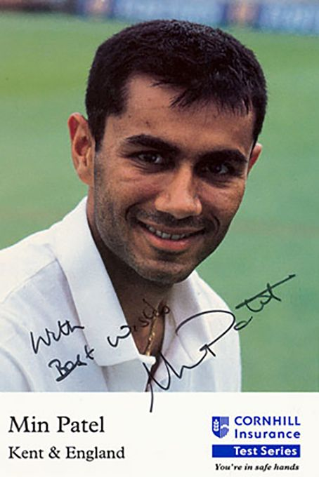Min Patel, Kent & England, signed 6x4 inch promo card.
