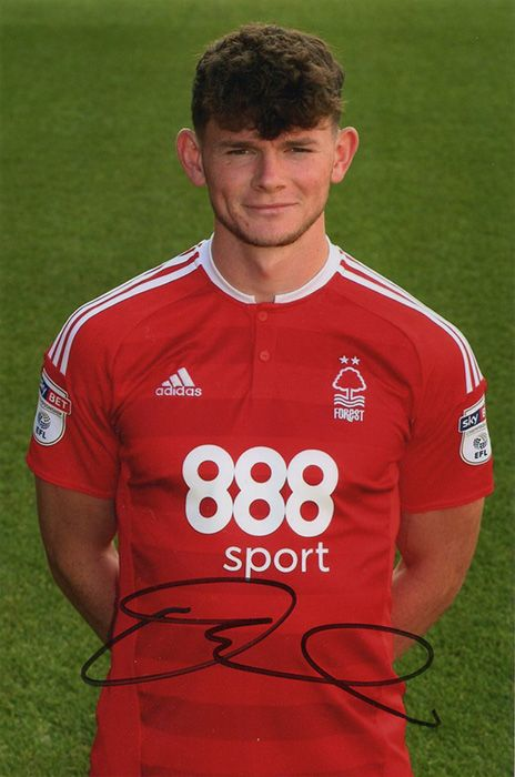 Oliver Burke, Nottinham Forest, signed 6x4 inch photo.
