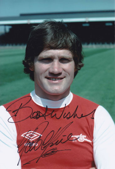 Pat Rice, Arsenal & Northern Ireland, signed 12x8 inch photo.