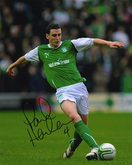Paul Hanlon, Hibernian, signed 10x8 inch photo.(2)