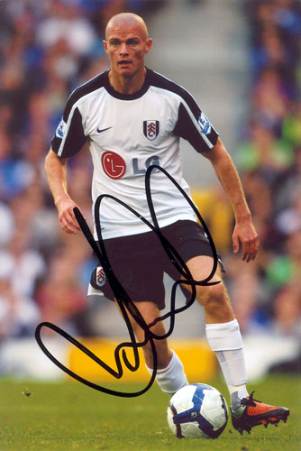 Paul Konchesky, Fulham, signed 6x4 inch photo.(2)
