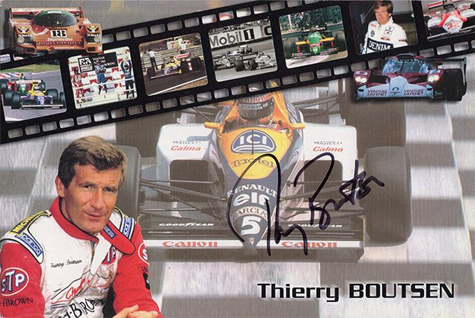 Thierry Boutsen, Formula One driver, signed 6x4 inch promo card.