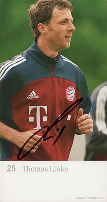 Thomas Linke, Bayern Munich & Germany, signed 6.5x3.5 inch promo card.