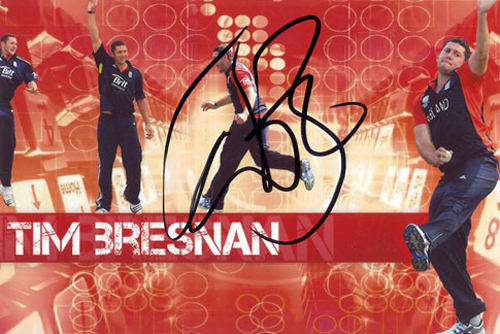Tim Bresnan, Yorkshire & England, signed 6x4 inch photo.(2)